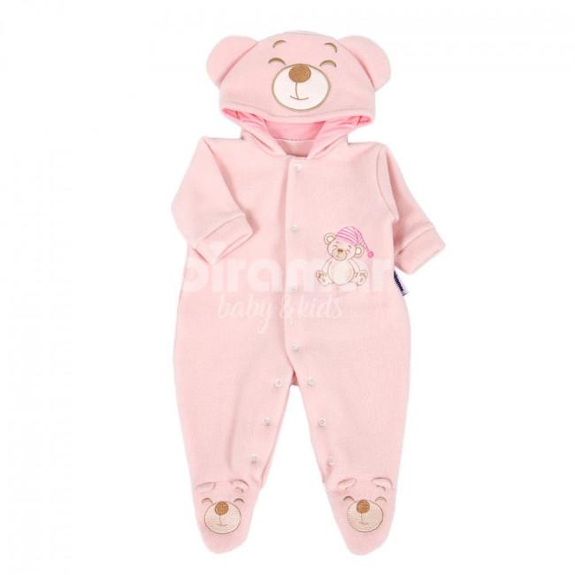 Macacão Soft para Bebê Urso com Touca Rosa - Tamanho Único - Baby ... 1ed2b82fca6
