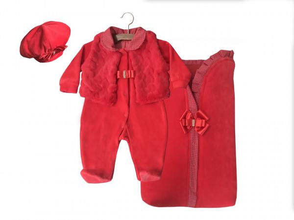 7942661101987 Kit Saída Maternidade Menina Vermelha Inverno De Plush E SACO DE DORMIR