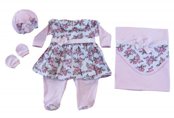 219814912d665 Saída Maternidade Menina Rosa e Floral - BALILA BABY