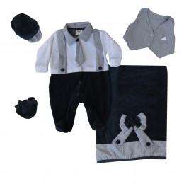 Saída Maternidade Menino Inverno em Plush com Gravata Colete e Suspensório 081298597c0
