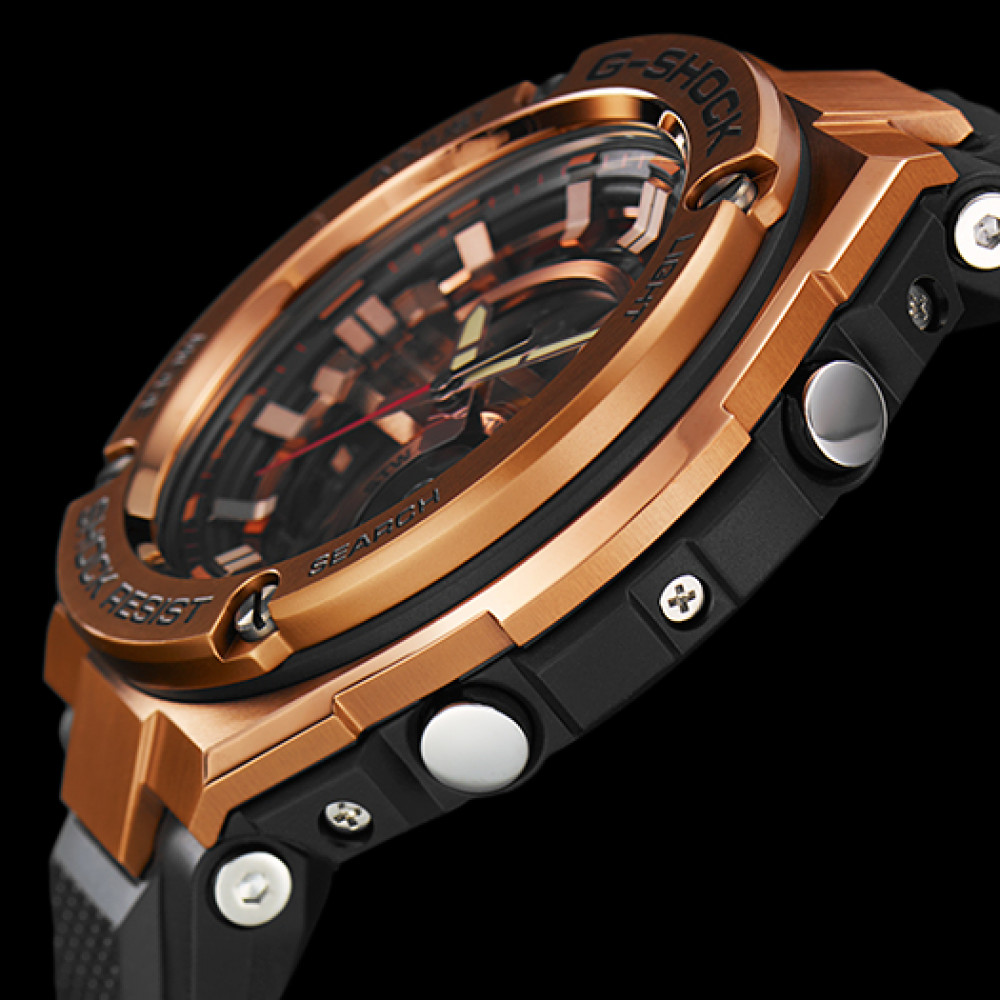 397b9778e26 Relógio Casio G-Shock G-Steel GST-210B-4A- Preto e rosé - Bessalle