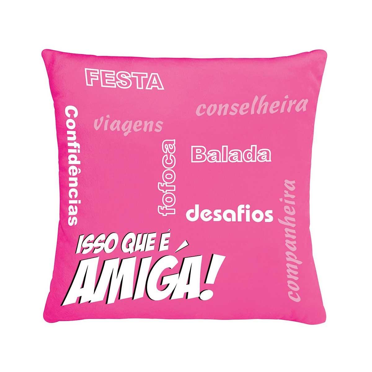 Almofada De Pelúcia Frase Isso Que é Amiga Pink Bebê Lar Bicho
