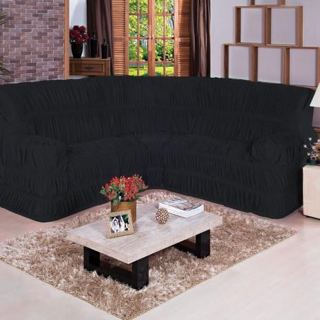 787bdf0a2c6 Capa de sofá de Canto Cor Preto Tecido Malha Gel 01 Peça - Borda ...