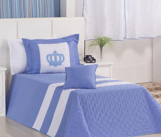 23585de8e7 Cobre Leito Solteiro Coleção Reizinho 03 Peças - Azul   Branco ...