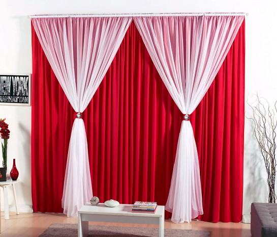 Cortina barcelona 4 00m x 2 80m para var o simples vermelho borda bordados enxovais - Cortinas infantiles barcelona ...