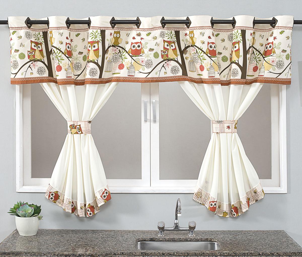 Cortina De Cozinha Home 2 00m X 1 40m Para Var O Simples Coruja