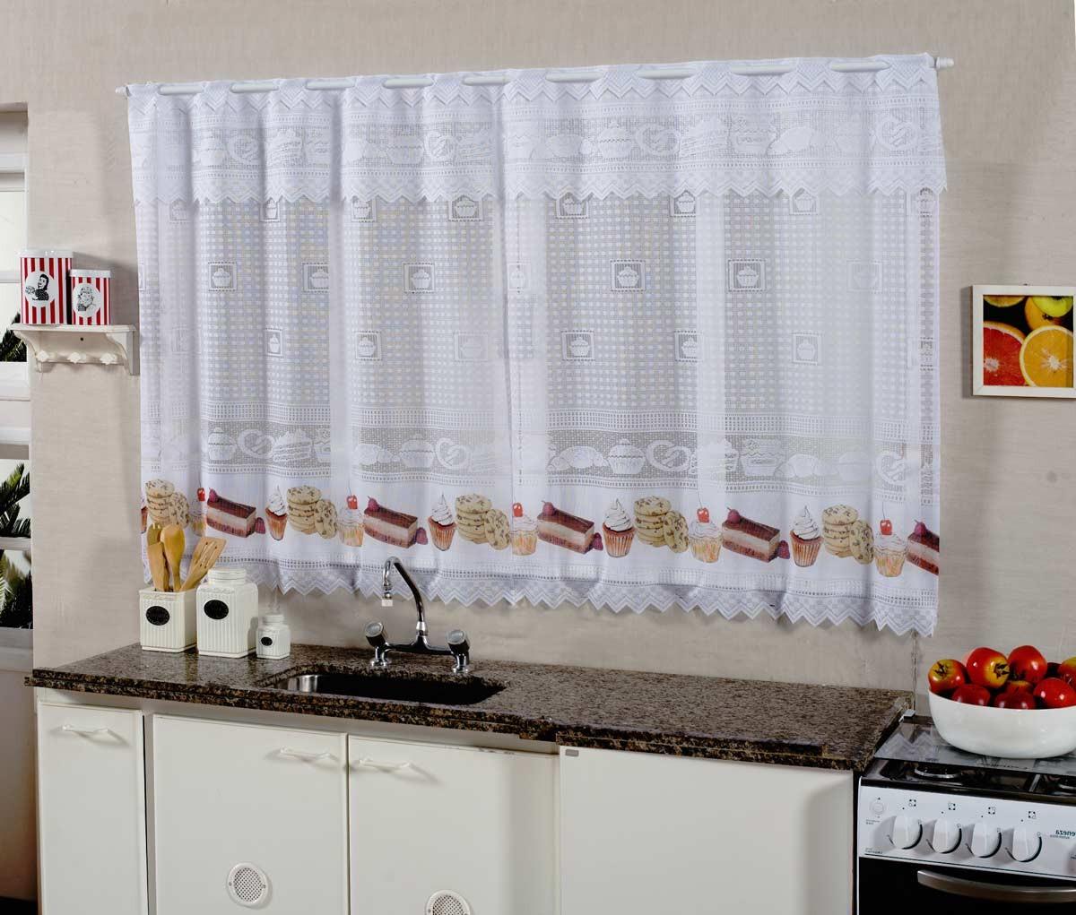 Cortina De Cozinha Renda 2 00m X 1 20m Para Var O Simples Cupcake