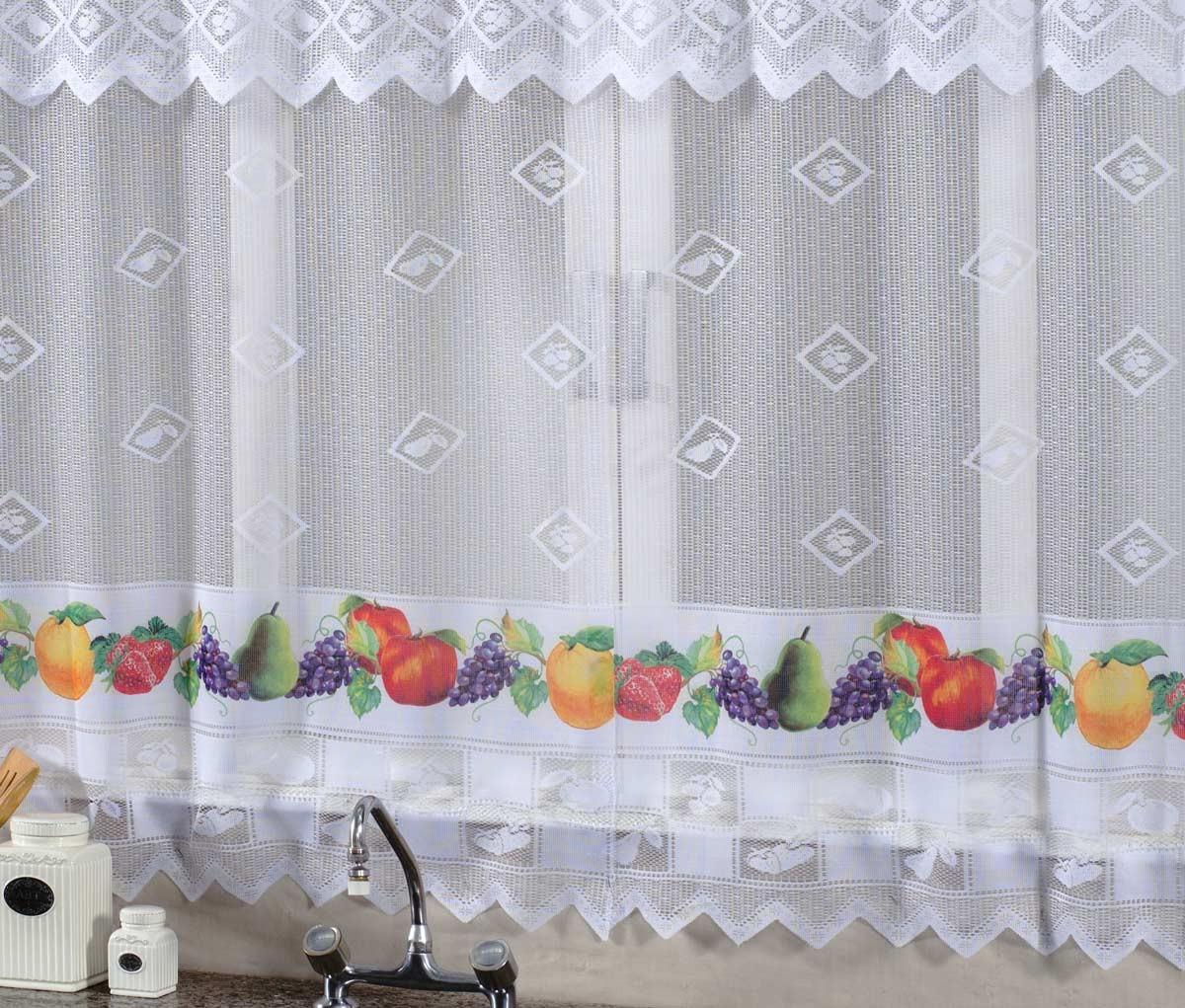 Cortina De Cozinha Renda 2 00m X 1 20m Para Var O Simples Frutas