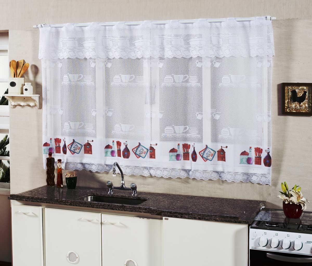 Cortina De Cozinha Renda 2 00m X 1 20m Para Var O Simples  ~ Cortina Branca Para Cozinha