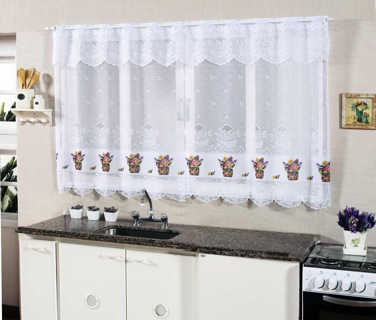 Cortina De Cozinha Renda 2 00m X 1 20m Para Var O Simples Flores