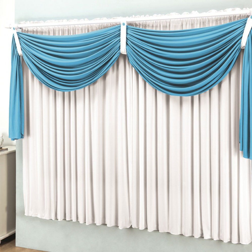 Cortina Fel Cia 3 00m X 2 80m Para Var O Simples Cor Azul Turquesa  -> Cortinas Para Sala Azul