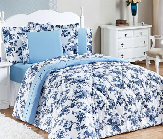 705a6e133a Edredom Casal Queen Murano Estampado 03 Peças - Floral Azul - Borda ...