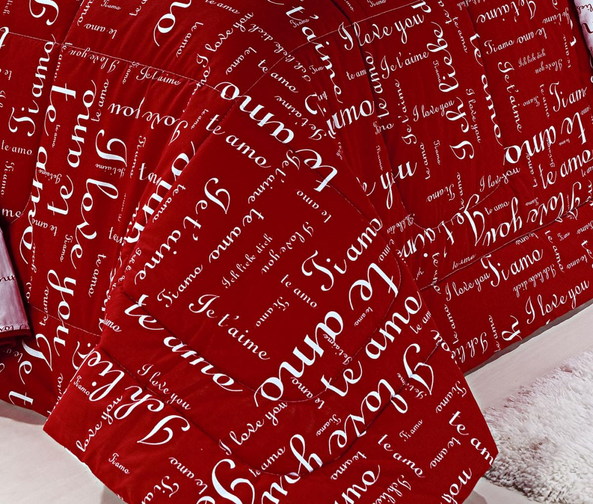 318d79009b Edredom Casal Queen Te Amo Cor Vermelho 05 Peças - Borda Bordados Enxovais