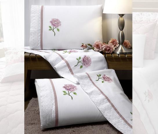 7d44885b8 Roupa de Cama Casal Queen Athena Bordados Florais 04 Peças - Branco ...