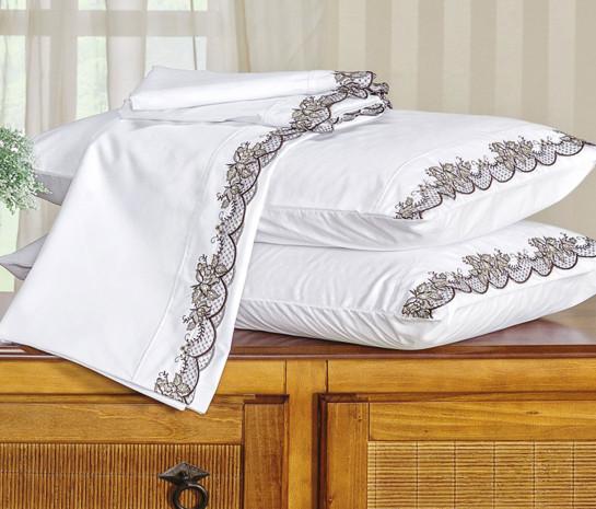 e10ca53d4a Roupa de Cama Casal Queen Kit Mondrean 200 Fios 04 Peças - Branco ...