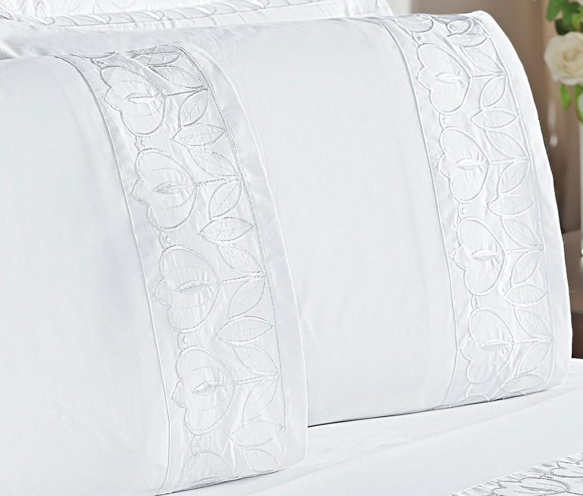 4248b6c13e Roupa de Cama Casal Queen Premiata 200 Fios 04 Peças - Branco - Borda  Bordados Enxovais