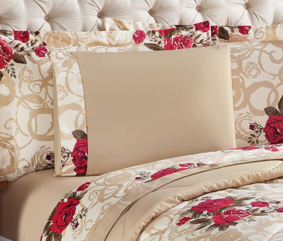 92933c77cd Roupa de Cama Queen Murano 04 Peças - Bouquet Vermelho - Borda Bordados  Enxovais