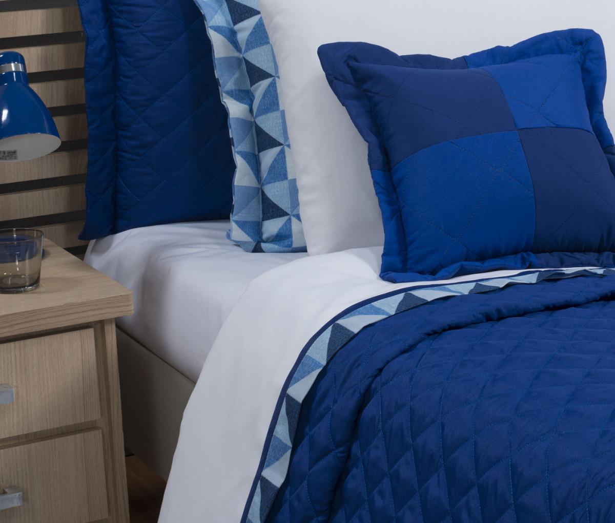 6575147301 Roupa de Cama Solteiro Prime com Vira Kit 03 Peças - Branco   Azul - Borda  Bordados Enxovais
