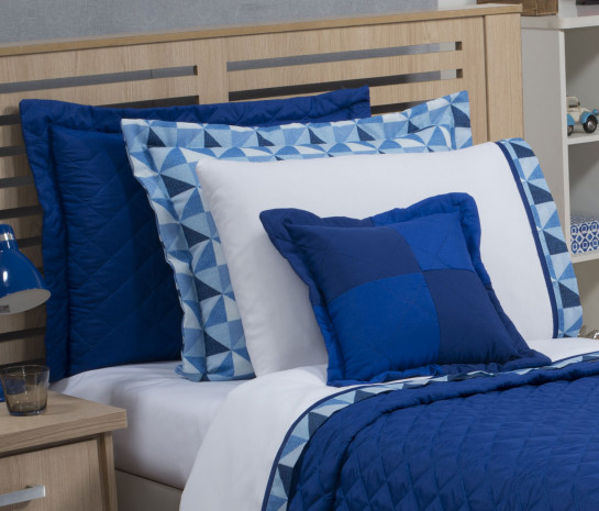 9d31060462 Roupa de Cama Solteiro Prime com Vira Kit 03 Peças - Branco   Azul ...