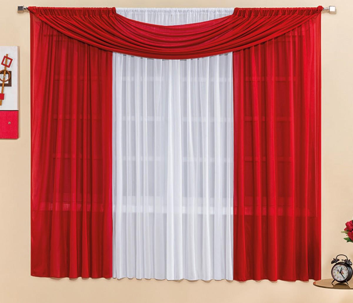 Cortina Vermelha Branca Para Var O Simples 3 00m X 2 50m Manu Loja