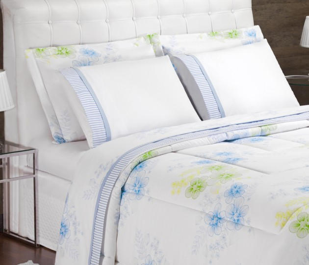 44703f784e Kit Edredom + Jogo de Cama Azul Queen 07 Peças Charme - Loja Casaborda  Ibitinga - Comprar Enxovais com Preço de Fábrica