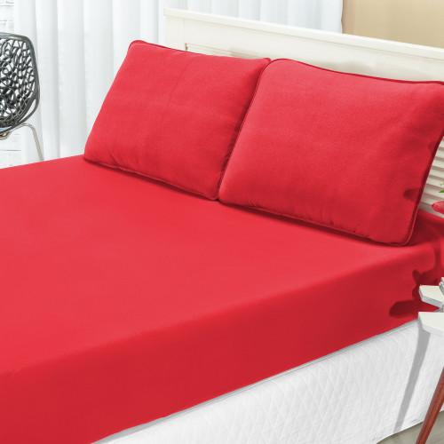 8c351ec77b Roupa de Cama Casal KING Quality Liso 100% Algodão 03 Peças - Vermelho