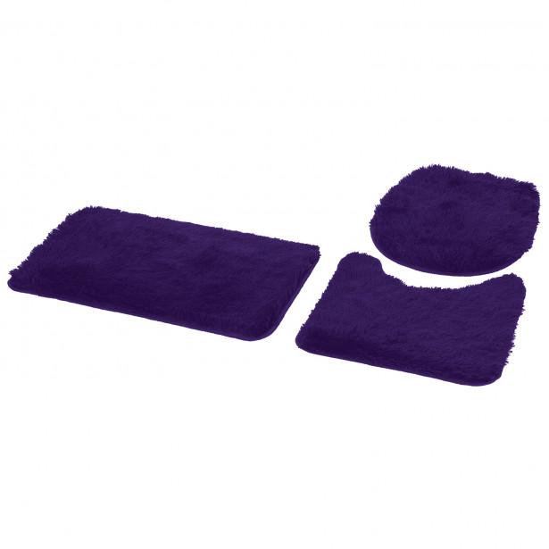 Jogo de tapetes de Banheiro Bella 03 Peças - Azul - Fina Casa 3562009a1393