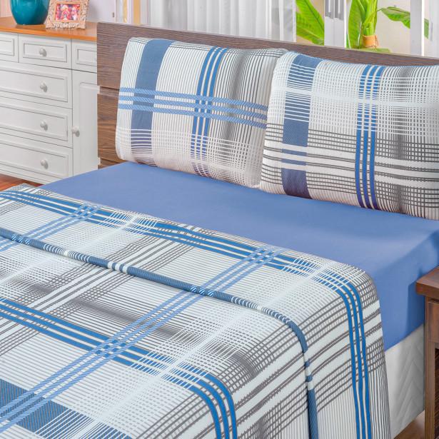 b07ce87384 Jogo de Cama Quality Casal King Malha 04 Peças 100% Algodão Cor Azul ...