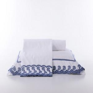 Amêndoa Roupa De Cama - Casal Padrão - Percal 200 Fios - 100% Algodão - 4 Peças - Branco/Azul