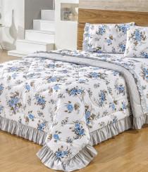 f740c555df Kit Edredom Casal Padrão Veneza Estampa Floral 5 Peças Percal 160 Fios  Dupla Face Azul com