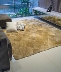 Tapete Pele de Carneiro 0,50 x 1,00m 5cm Espessura e Base 100% Algodão Areia