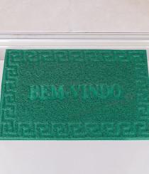 Tapete Bem Vindo Vinil 40 x 60cm Base Antiderrapante e 0,5CM Espessura Verde
