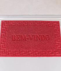 Tapete Bem Vindo Vinil 40 x 60cm Base Antiderrapante e 0,5CM Espessura Vermelho