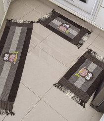 Tapetes de Cozinha Biju Viscoelástico Perfil Coruja 3 Peças