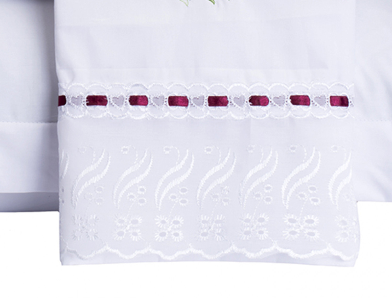 cd2841a702 Jogo de Cama Felicitá Casal Queen 4 Peças (Bordado) Branco - Vilela Enxovais