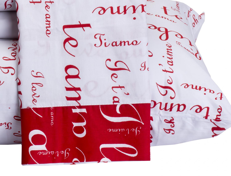 d0dc7de56b Jogo de Cama Te Amo Casal Queen 4 Peças Vermelho com Branco - Vilela  Enxovais